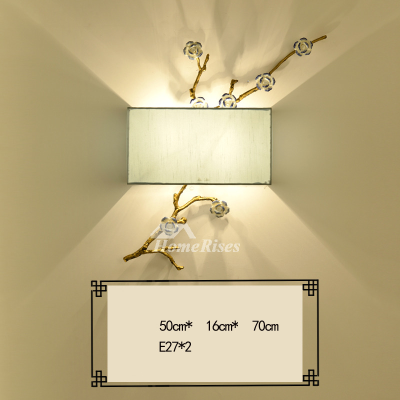 Wall Lights For Bedroom Rectangule Fabric Wrought Iron Twig Fixture