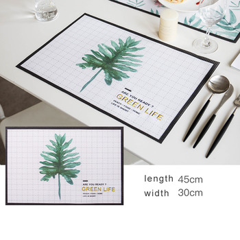 Spring Placemats Leaf Pvc Rectangule Table Woven Green Modern