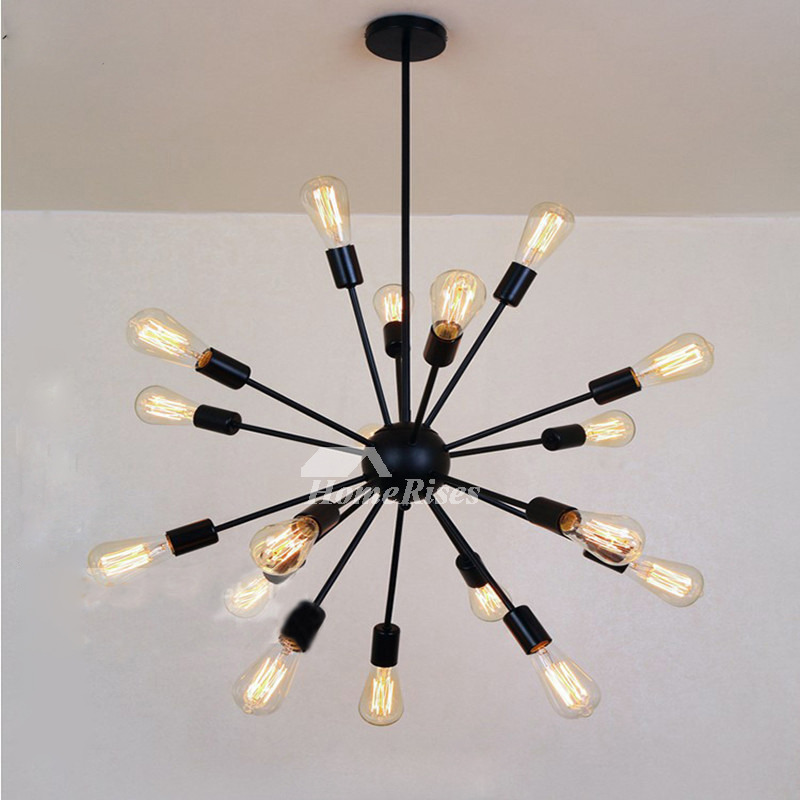Industrial Chandelier 18-Light Wrought Iron Black Bar