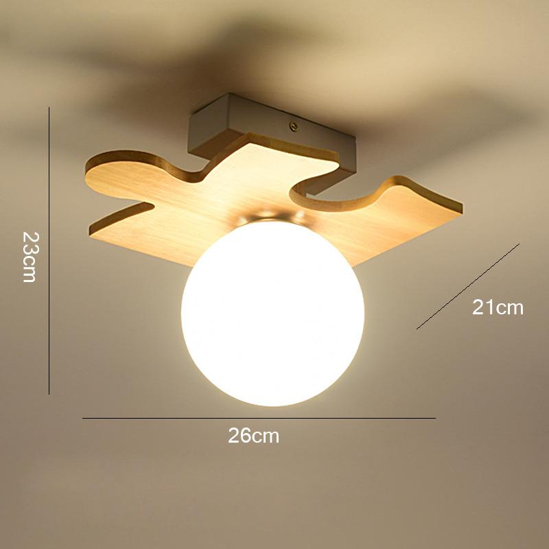 Cheap Ceiling Lights Wood Glass Metal Semi Flush For