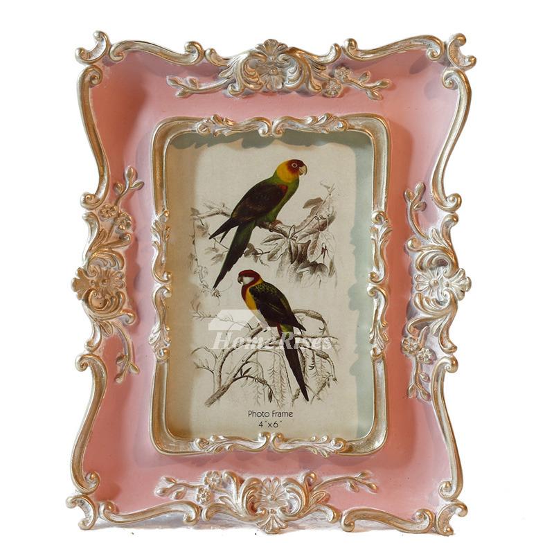unique vintage picture frames pink white resin glass decorative 4x6. Black Bedroom Furniture Sets. Home Design Ideas