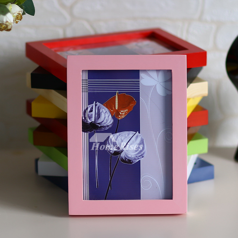 Cheap Picture Frames Red Pink Blue Green Yellow Wooden Modern