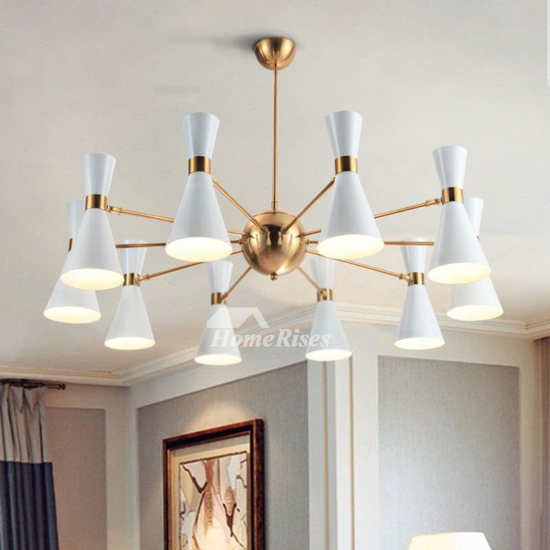 Modern Chandelier Lighting 6 10 Light Fixture Iron White Black
