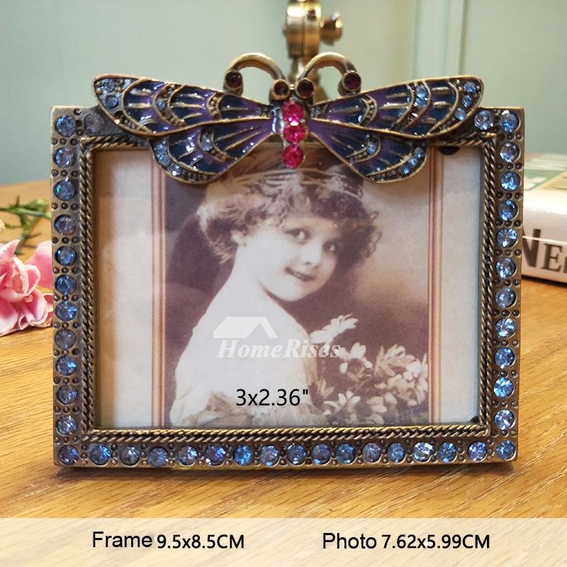 Vintage Picture Frames 4X6/5X3.5 Alloy Glass Small Rectangule/Round