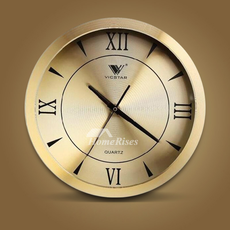 Silver Wall Clock Gold Round Metal Bedroom Analog Creative 12 Inch
