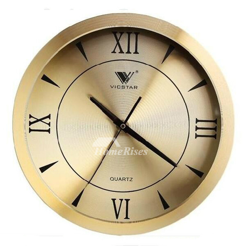 Silver Wall Clock Gold Round Metal Bedroom Analog Creative