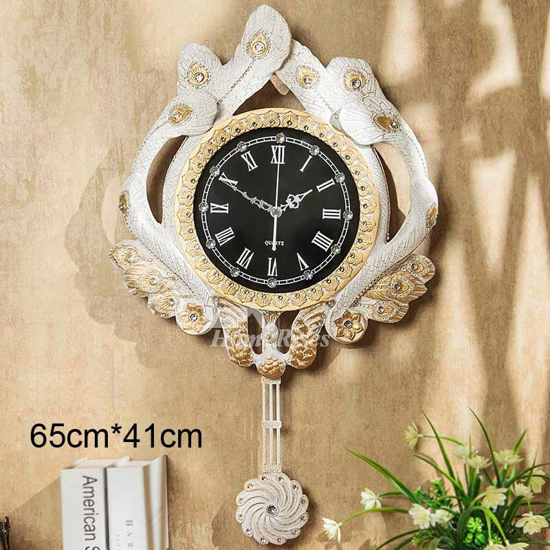 Peacock Wall Clock Pendulum Vintage Decorative Resin
