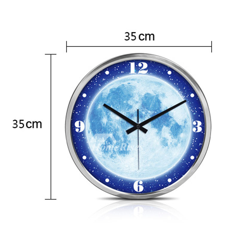Illuminated Wall Clock 14 Inch Round Silent Modern Silver Black Metal