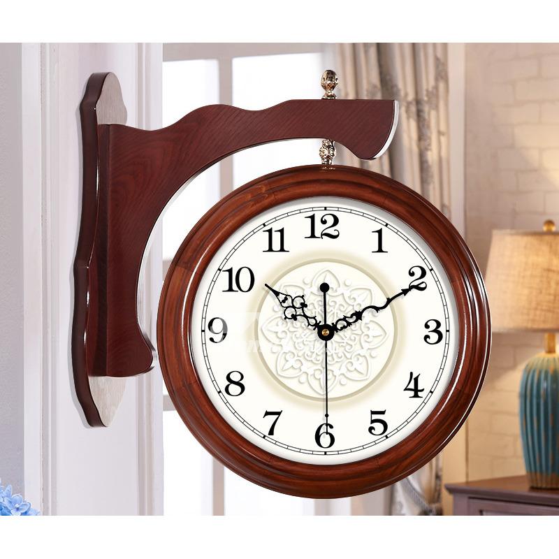 living room wall clocks double sided brown white wood large vintage. Black Bedroom Furniture Sets. Home Design Ideas