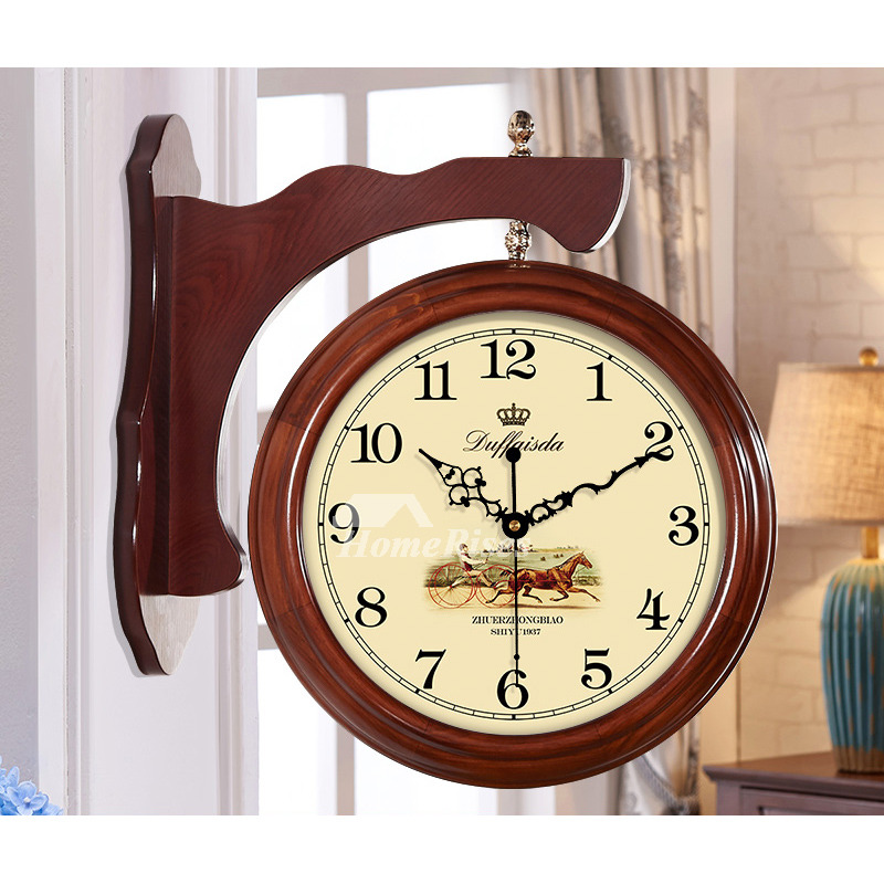 Living Room Wall Clocks Double Sided Brownwhite Wood Large Vintage