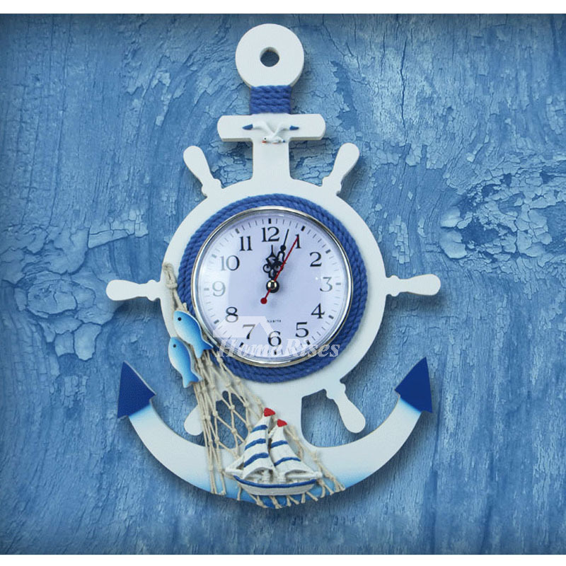 Beach Themed Wall Clocks Nautical Decorative Silent Wood Kids Bedroom