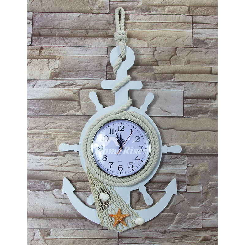 Childrens Wall Clocks Nautical Beach Themed White Wood Bedroom