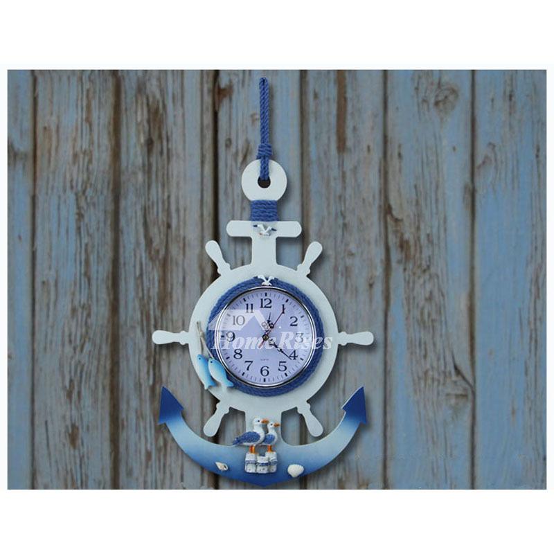 Childrens Wall Clocks Nautical Beach Themed White Wood Bedroom