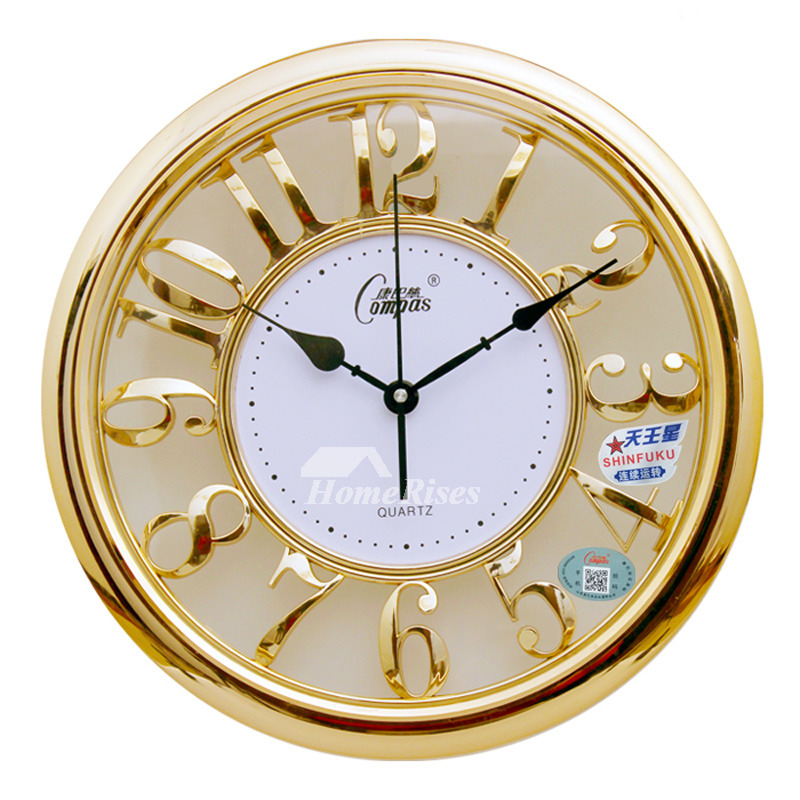 Luxury Gold Rose Gold Wall Clocks Round Large Abs Glass Unique
