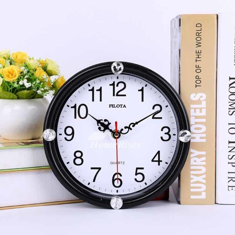 Small Wall Clocks Round White Black Cheap Kids Plastic Funny Analog