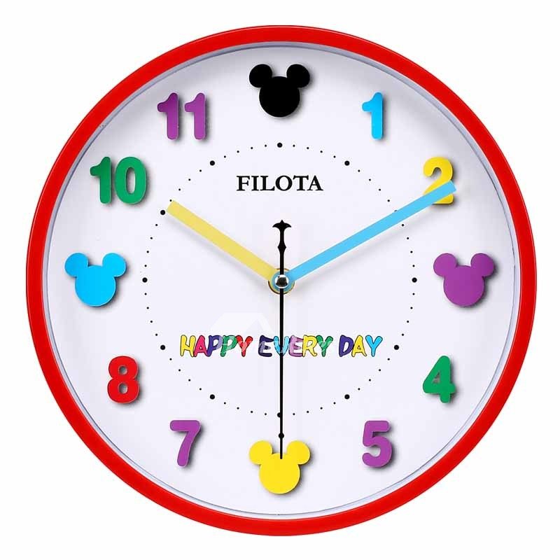 Decorative Wall Clocks Kids Plastic Round Redblueblack Novelty
