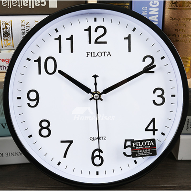 Modern Wall Clock Round Black White Analog Plastic