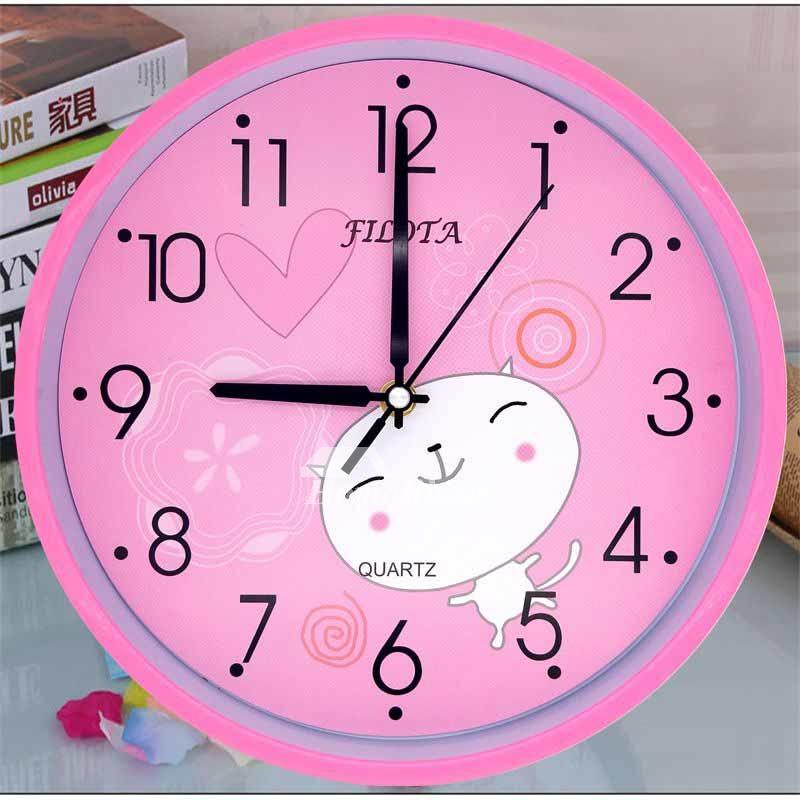 Analog Wall Clock Kids Funny Plastic Pink Blue White Round