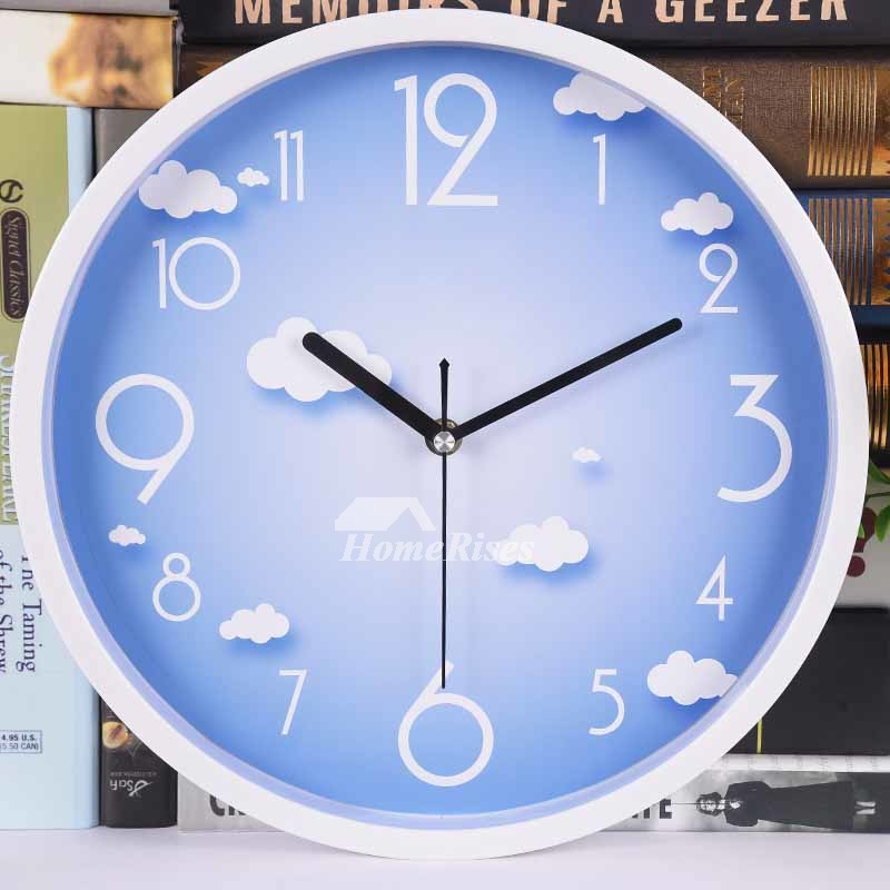 Kitchen Wall Clocks Round Blue Yellow Plastic Cheap Kids