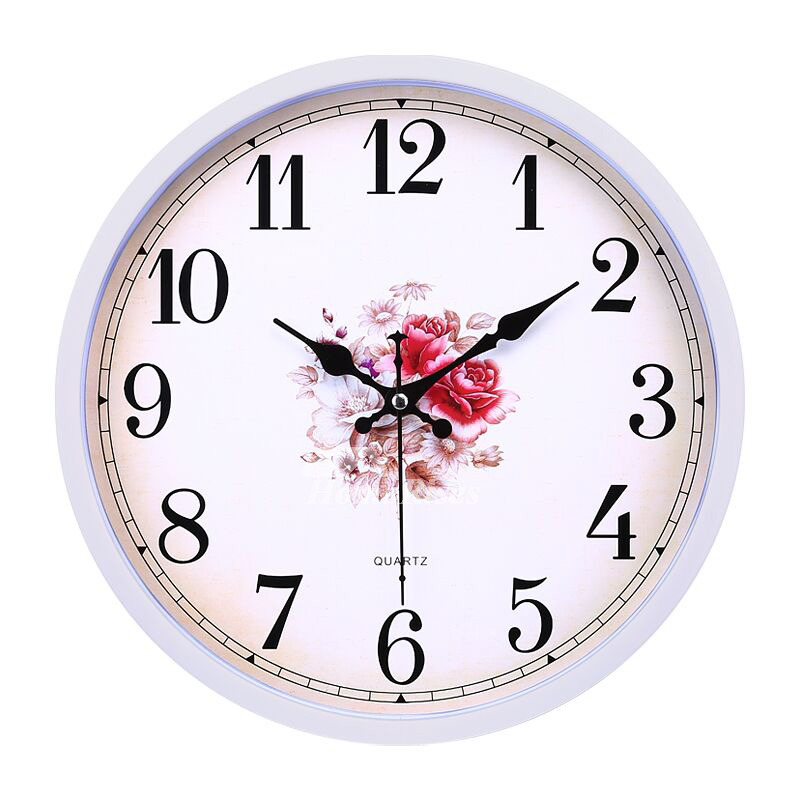 Bedroom Wall Clocks Whiteblueyellow Plastic Round Analog