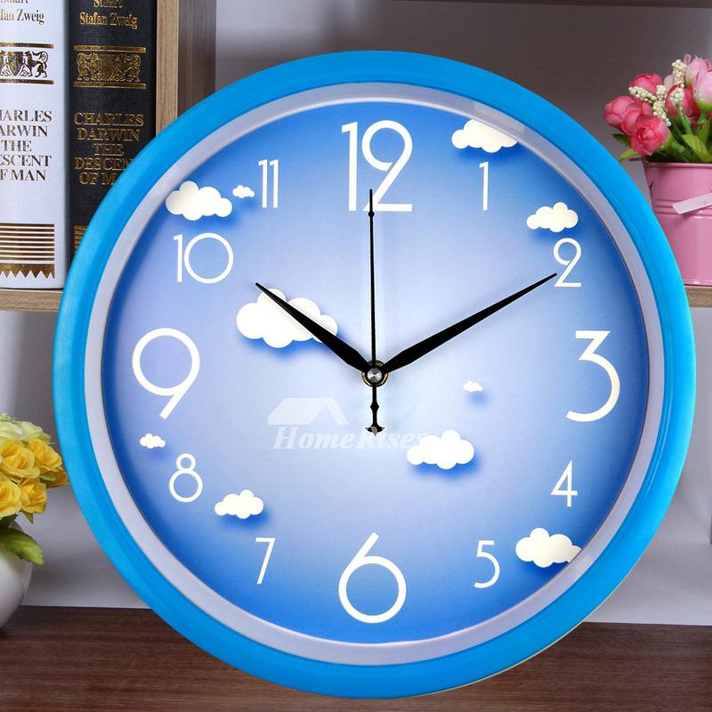 Bedroom Wall Clocks White Blue Yellow Plastic Round Analog
