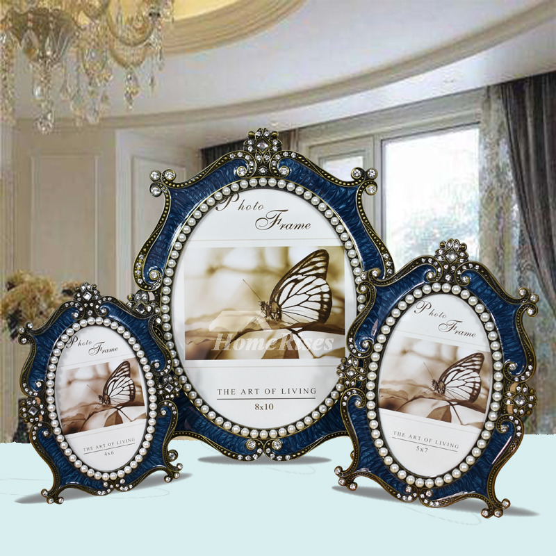 Vintage Picture Frames 4X6/5X7/8X10 Metal Oval White/Blue Modern