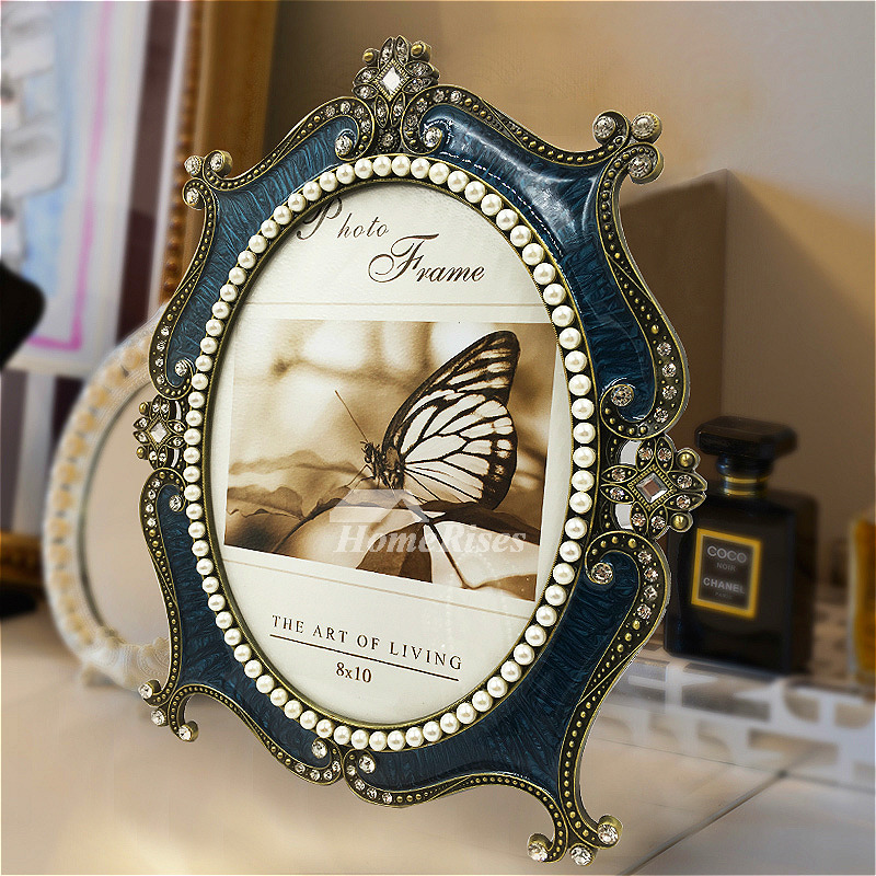 Vintage Picture Frames 4x6 5x7 8x10 Metal Oval White Blue
