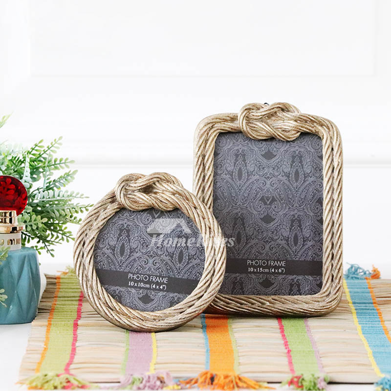 Rustic Round Resin Glass Picture Frames 4x6 4x4 Gold