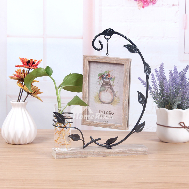 Hanging Picture Frames 4x6 Iron Wood Vintage Glass Unique Wholesale