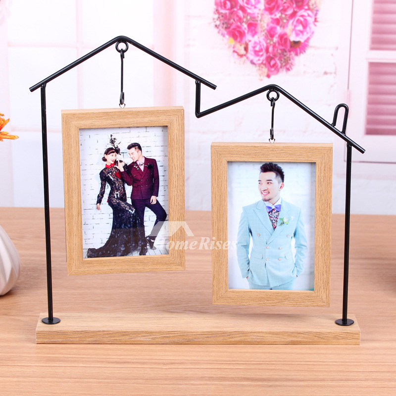Hanging Picture Frames 4X6 Iron Wood Vintage Glass Unique Wholesale