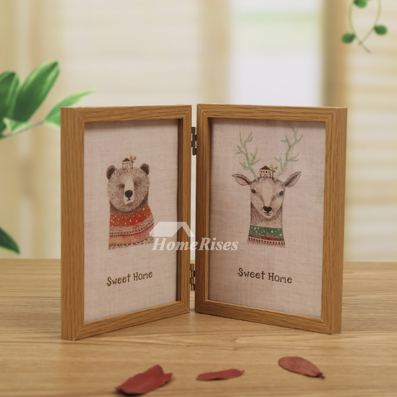 Folding Rustic Wood Double Picture Frame 4X6/5X7 Blue Decorative