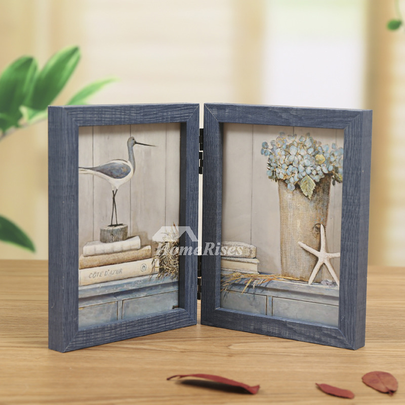 Folding Rustic Wood Double Picture Frame 4x6 5x7 Blue