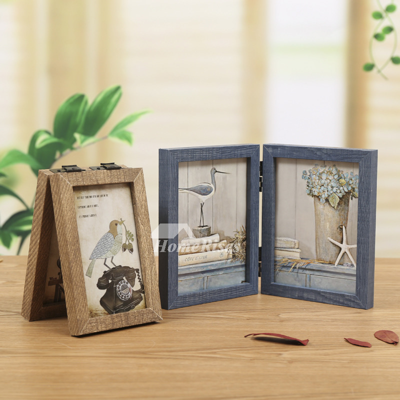 Folding Rustic Wood Double Picture Frame 4x65x7 Blue Decorative