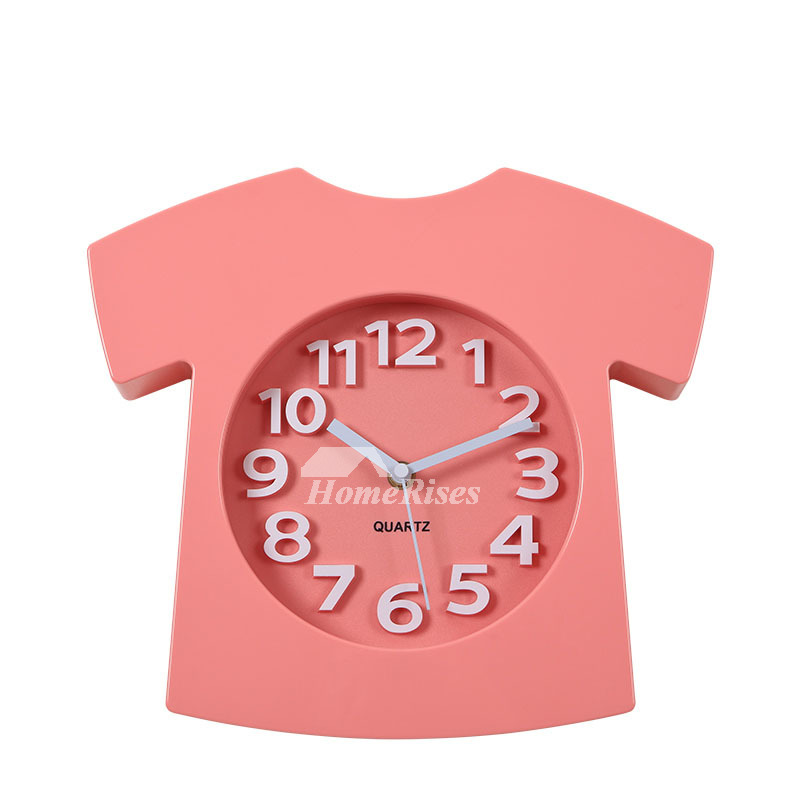 Unusual Wall Clocks Black Kids Creative Analog Cute Bedroom Pink