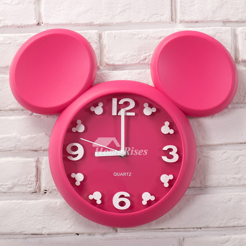Cute Wall Clock Pink White Yellow Red Plastic Kids