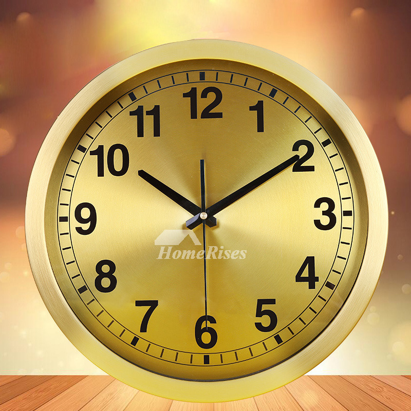 Gold Wall Clock Luxury Round 14 Inch Analog Silent Living Room