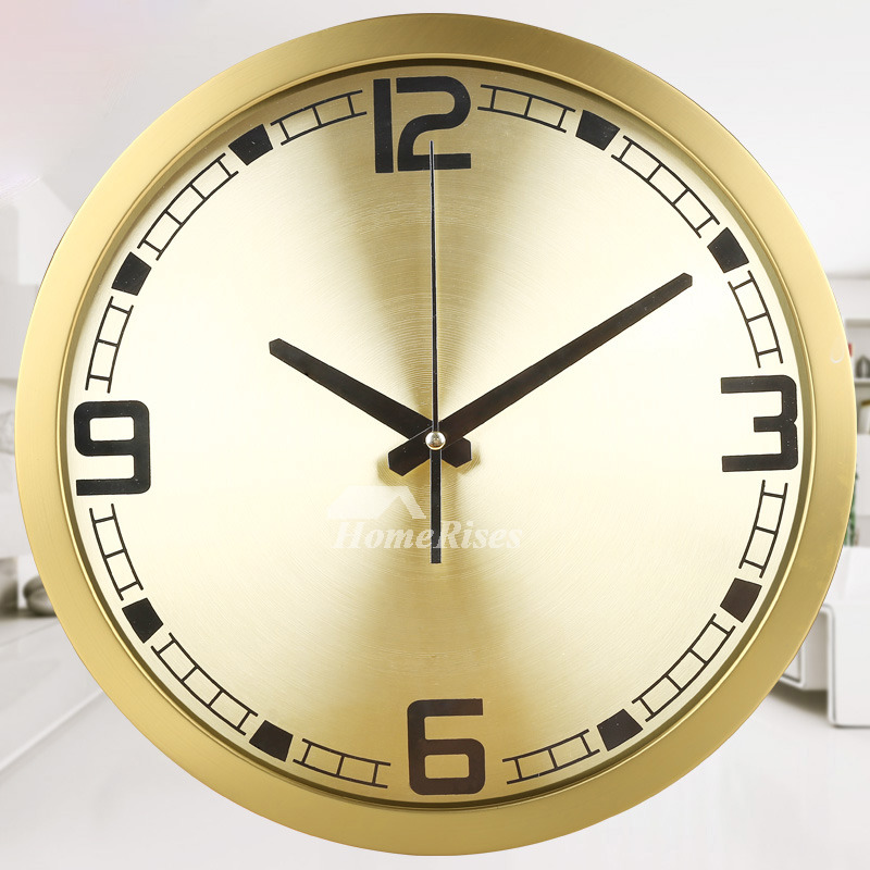 Gold Metal Wall Clock Round Analog Silent Kitchen Glass Living Room