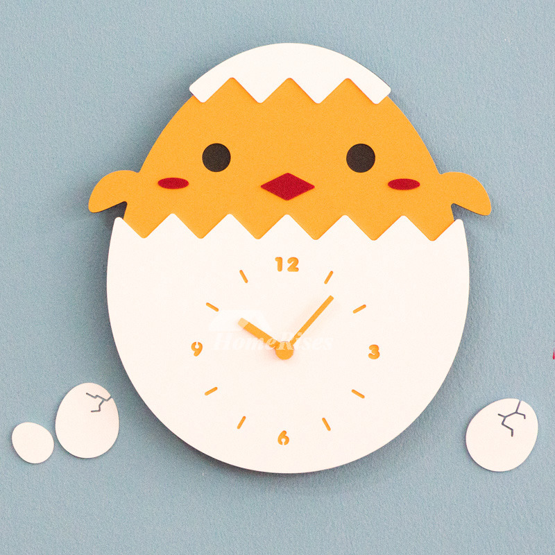 Cute Wall Clock Chicken Creative Acrylic Silent Kids