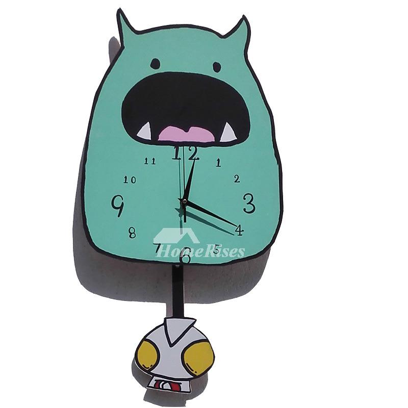 funny wall clocks wooden green pendulum kids cute living room