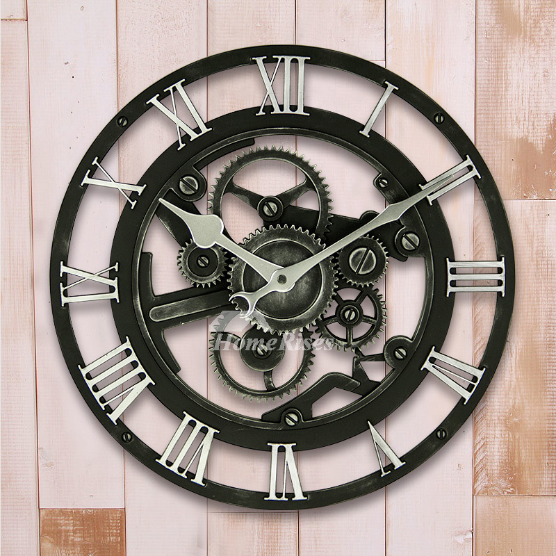 Industrial Wall Clock Mechanical Round Large 14 Inch Cheap Plastic