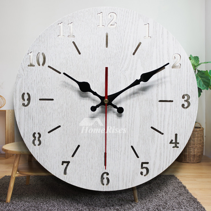 Contemporary Wall Clocks Rustic 12 14 16 Inch Large Wooden