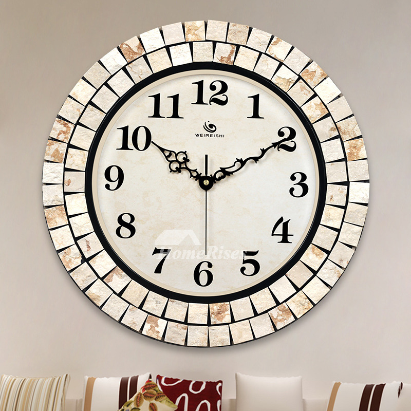 Large Wall Clocks Round 16 Inch Unusual Metal Gl Decorative