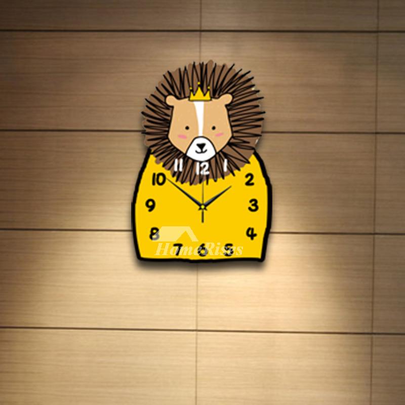 Funny Yellow Wall Clock Wooden Kids Decorative Unique Designer
