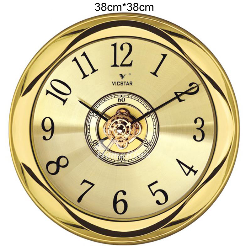 gold wall clock 12 15 inch round glass plastic outdoor luxury. Black Bedroom Furniture Sets. Home Design Ideas