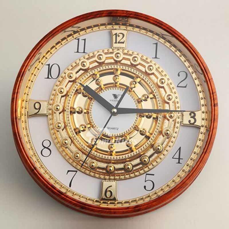 Luxury 14 Inch Plastic Gold Wall Clock Mechanical Round Unusual Glass
