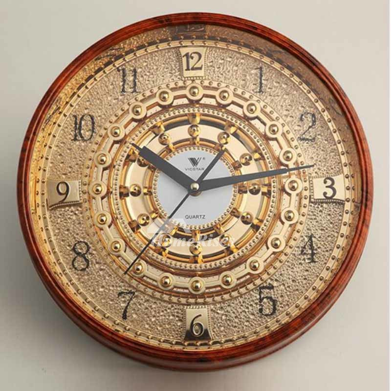 Luxury 14 Inch Plastic Gold Wall Clock Mechanical Round
