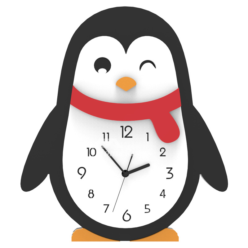 Quiet Wall Clock Cute Funny Novelty Acrylic Silent Penguin