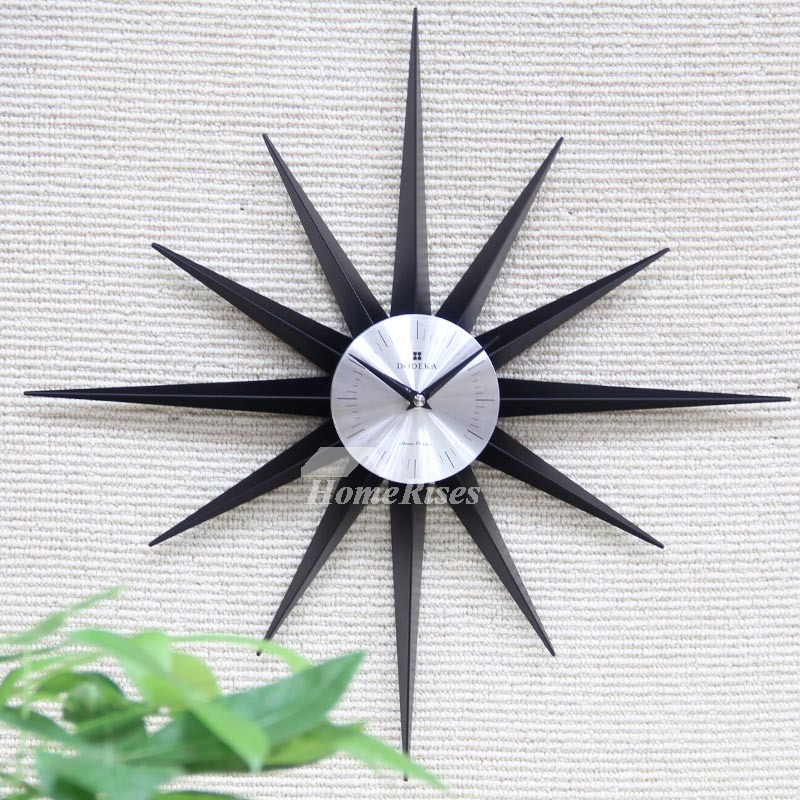 Starburst Wall Clock SilverBlackColorful Silent Oversized 20 Inch