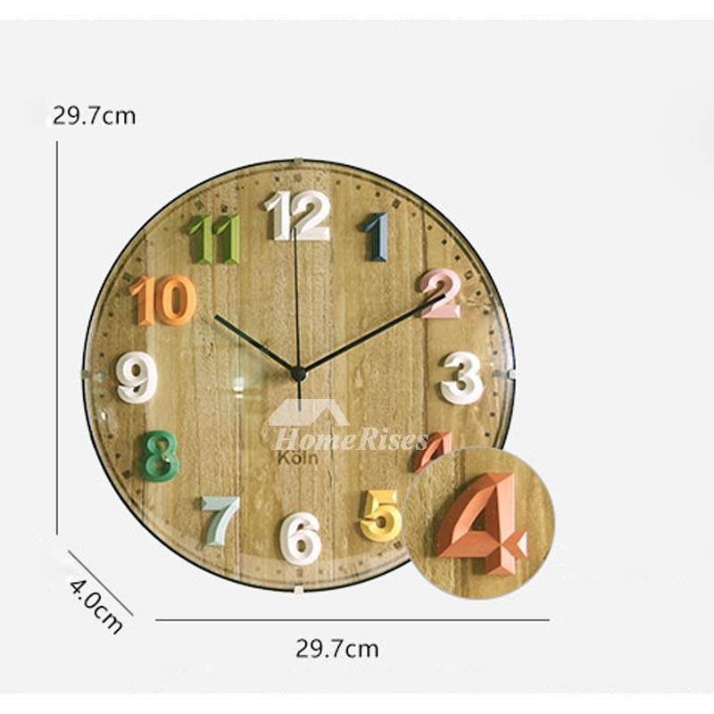 Rustic Wall Clock Silent Wooden Glass 12 Inch Round Living