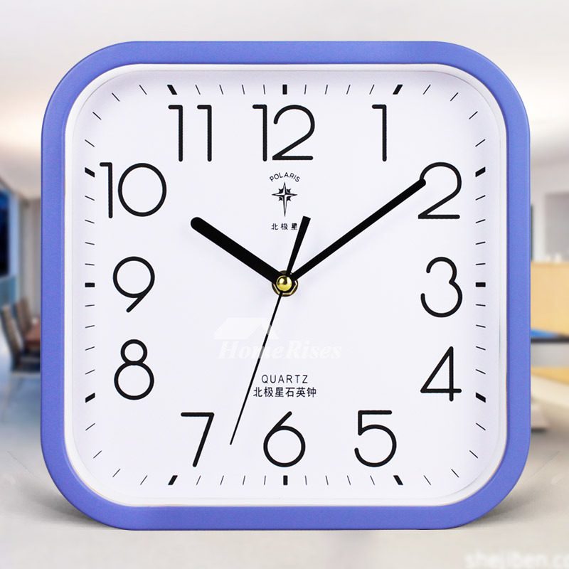 Square Wall Clock 10 Inch Small Glass Plastic Silent Blue Black Red Best
